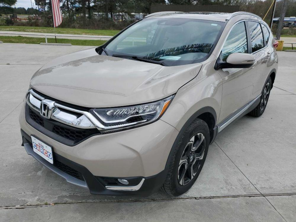 2017 TAN HONDA CR-V TOURING (5J6RW1H9XHL) with an 1.5L engine, Continuously Variable transmission, located at 3553 US Hwy 190 W., Livingston, TX, 77351, (936) 967-8141, 30.812162, -95.077309 - Photo #0